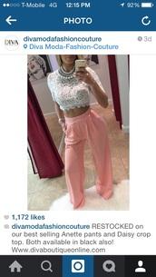 blouse,lace top,pants,coral pants,loose,fashion,top,jewels,pink pants,cute,pastel pink pants,light pink pants,pale pink pants,pink,jeans,outfit,crop tops,wide-leg pants