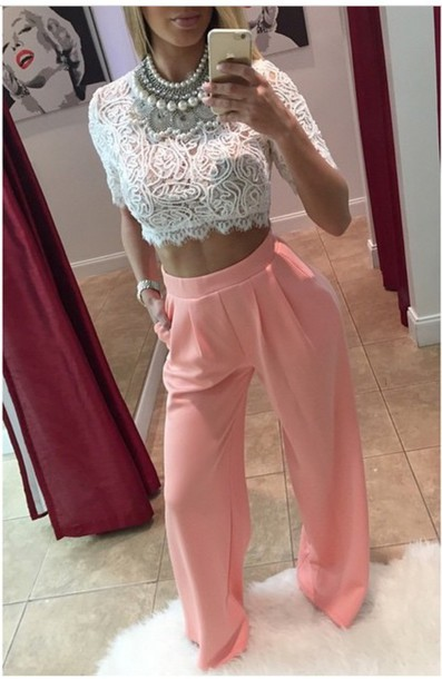 blouse lace top pants coral pants loose fashion top jewels pink pants cute pastel pink pants light pink pants pale pink pants pink jeans pants outfit crop tops wide-leg pants