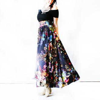 skirt folk boho dress maxi dress maxi skirt black skirt romantic romantic dress casual bohemian dress bohemiandress bohemian hippie hippie chic gypsy gypsy one