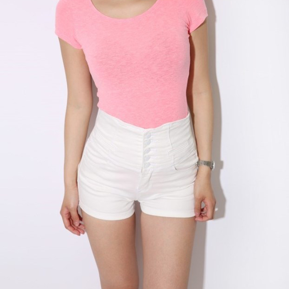 com : Buy FOUR COLORS Lace Up White High Waisted Denim Shorts 2014 ...