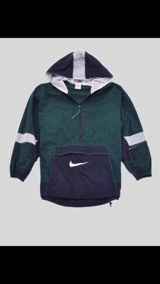 jacket vintage jacket nike jacket green jacket nike wind breaker