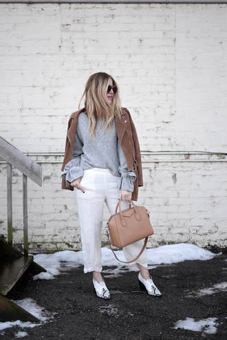 blonde bedhead blogger pants sweater shoes bag jacket jewels grey sweater givenchy bag winter outfits suede jacket