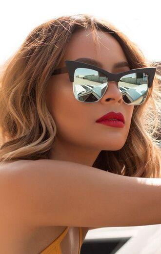 sunglasses desi perkins quay cat eye mirrored sunglasses red lipstick