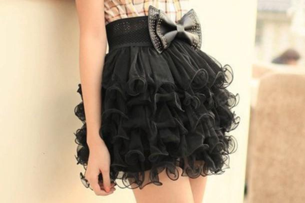 7fea2ca89 skirt midi skirt ruffle black skirt bow black belt girl girly cute short  ruffle puffy skirt