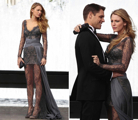 dress serena van der woodsen navy navy blue lace dress gossip girl gown lace grey