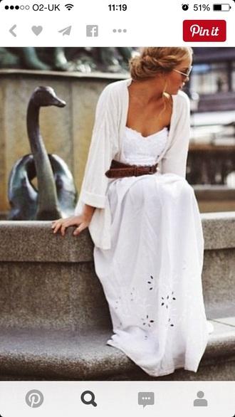 dress maxi dress white dress strapless white flower cut outs