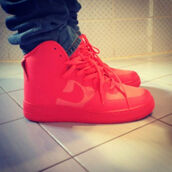 shoes,fashion,nigga,all red,style,nike,red,sneakers