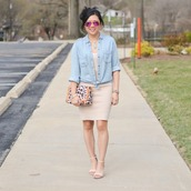 morepiecesofme,blogger,sunglasses,jewels,bag,skirt,shoes,denim shirt,high heel sandals,sandals,beige skirt,spring outfits,purple sunglasses,handbag
