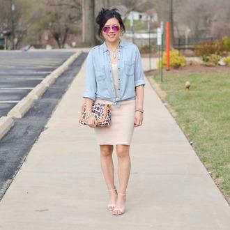 morepiecesofme blogger sunglasses jewels bag skirt shoes denim shirt high heel sandals sandals beige skirt spring outfits purple sunglasses handbag