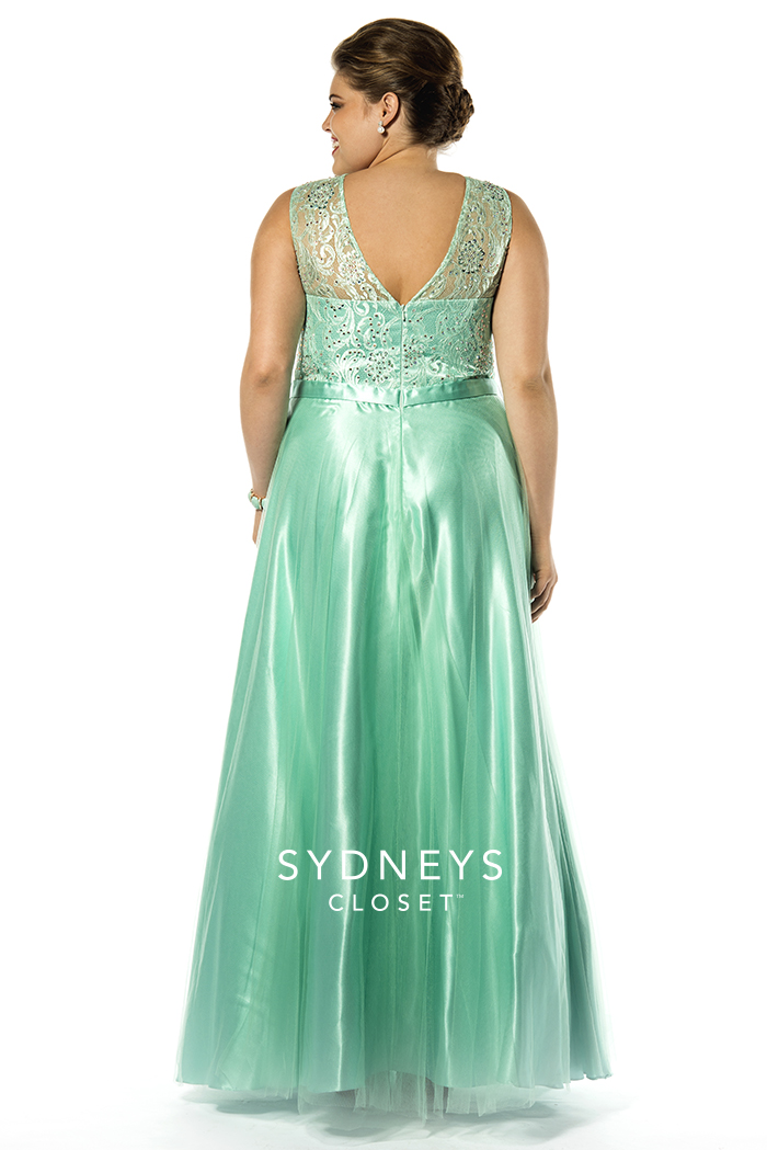 Mint Green Plus Size Evening Dress