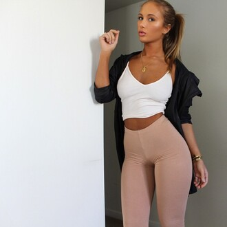 leggings jewels necklace blouse high waisted high waisted leggings beige cream tights jacket crop crop tops top crop tank tank top bracelets hip hop tumblr style hipster windbreaker abs coolg girl outfit fashion jewelry pants niykee heaton niykee heaton pants shirt coat bralette black coat white bralette nude leggings black white nude hoodie raincoat high waisted pants jeans sports pants
