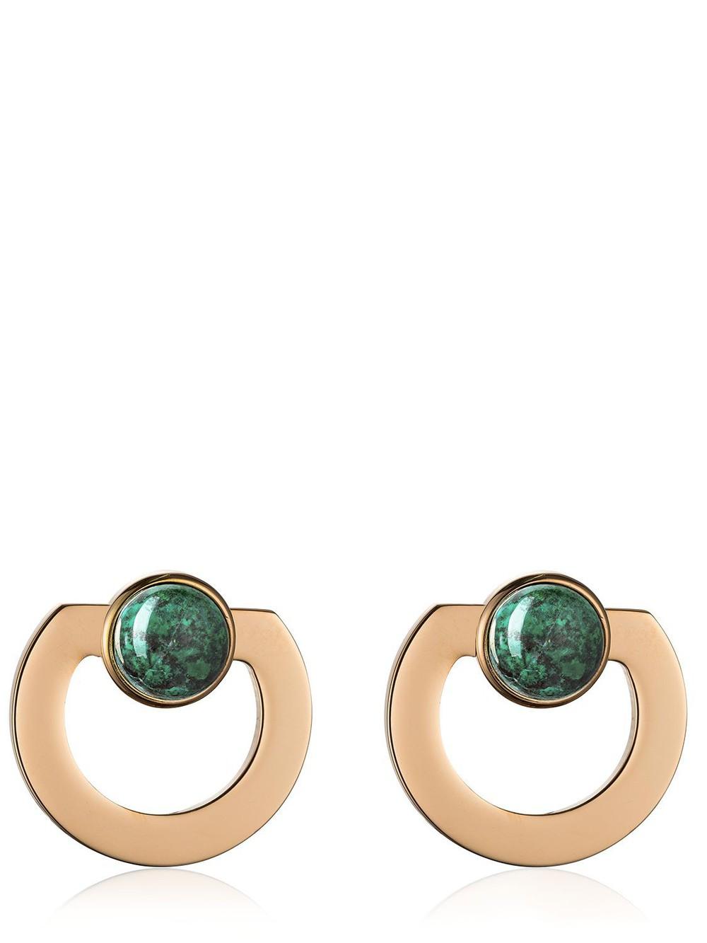 VITA FEDE Moneta Open Stone Earrings in gold / green / rose