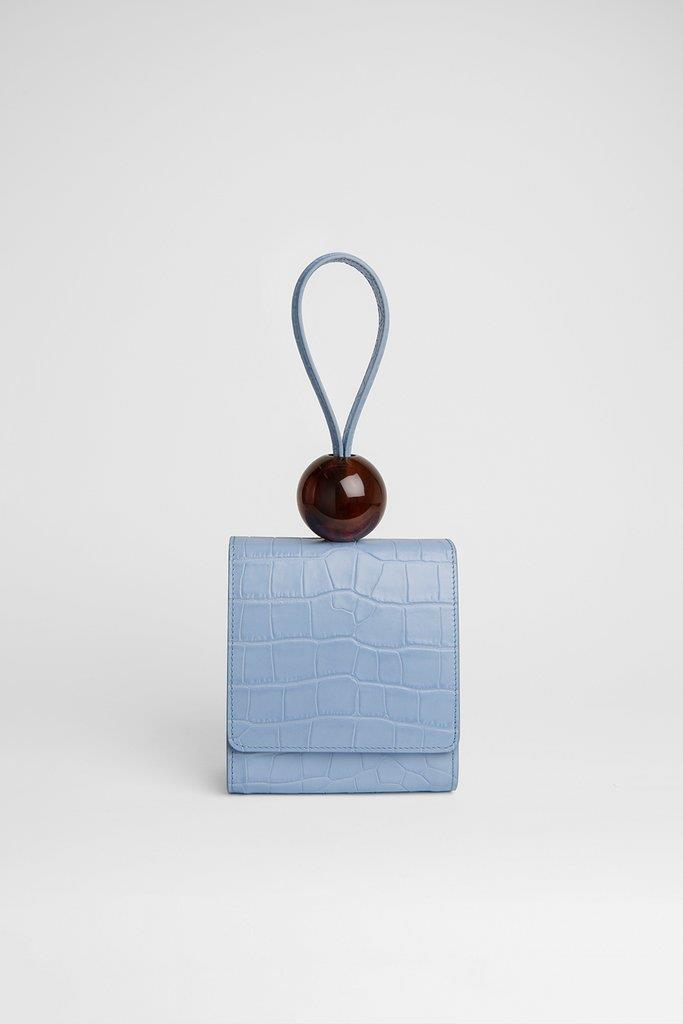 Ball Bag Sky Blue Croco Embossed Leather
