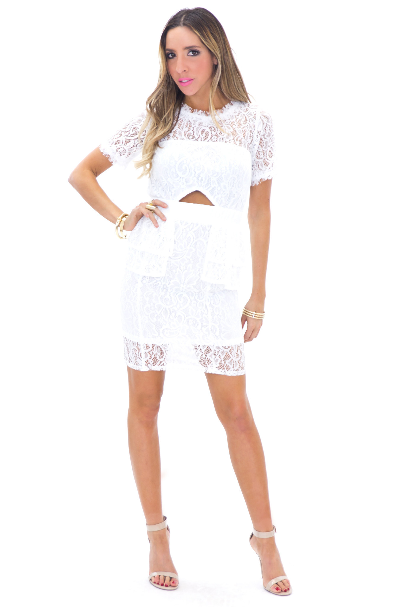 BELLAMIE LACE PEPLUM DRESS - WHITE | Haute & Rebellious