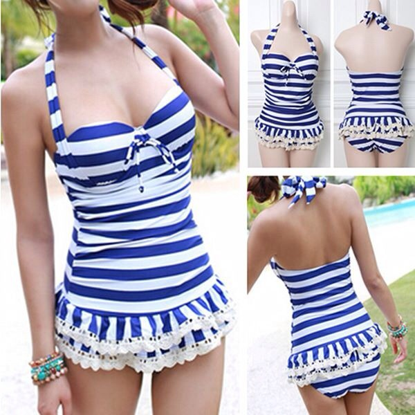 swimwear blue sailor cute