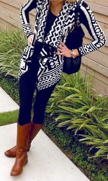 tribal pattern navyblue aztec cardigan cute boots leggings black and white tribal cardigan black