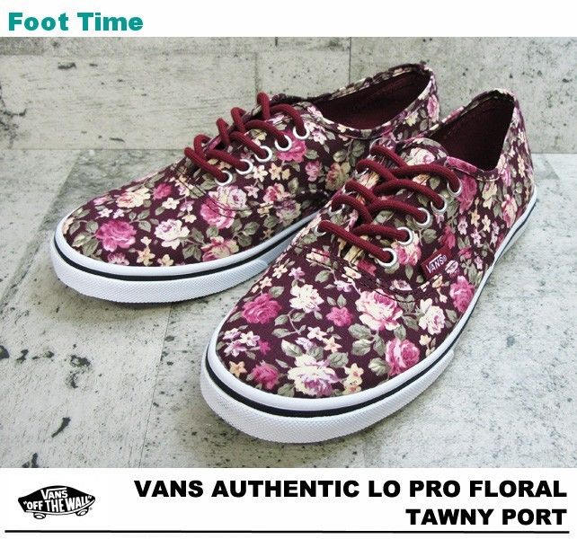 Vans authentic lo pro floral tawny port women's skate shoes size 10