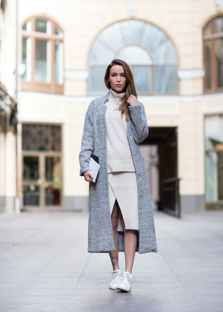 skirt knitted skirt midi skirt white skirt wrap skirt front slit skirt slit skirt sweater white sweater matching set coat winter coat grey coat long coat sneakers white sneakers low top sneakers