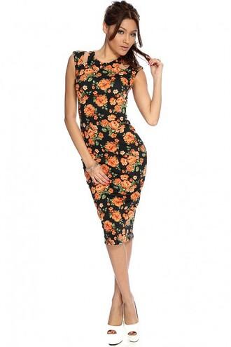 dress wintertrending winterapperal print printed dress floral floral dress sexy dress black dress bodycon dress sale dresses sales sale amiclubwear knee length dress
