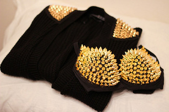 jacket black blazer gold studded jacket