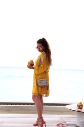 dress,tumblr,midi dress,yellow,yellow dress,long sleeves,long sleeve dress,sandals,sandal heels,high heel sandals,bag,shoes