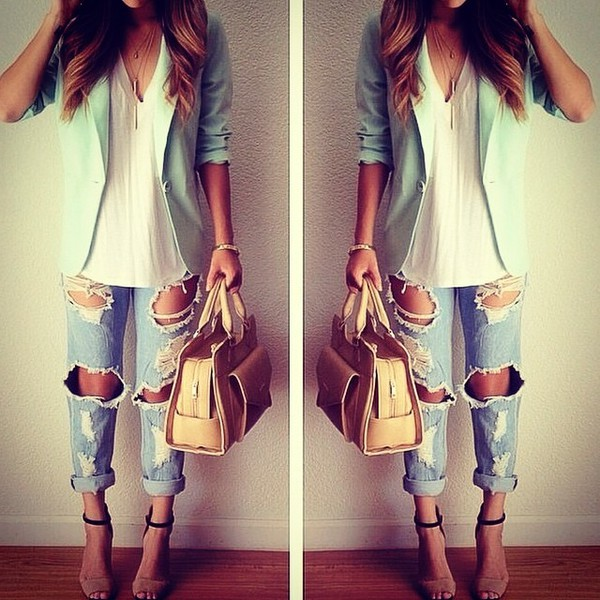 jeans jacket shoes bag blazer mint coat fashionista style casual chic underwear jewels ripped jeans