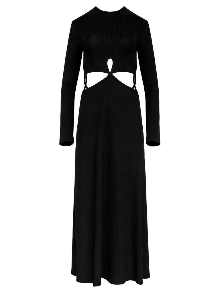 Looped Cutaway Long Sleeve Rib Dress