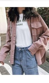 jacket,girly,girly wishlist,girl,pink,button up,corduroy