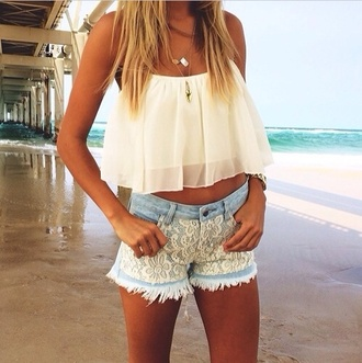 lace shorts ripped shorts distressed denim shorts denim shorts white top chiffon summer outfits beach summer pendant light blue crop tops shorts short shorts short cut off shorts top cute top crops necklace