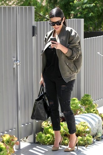 jacket bag jeans kim kardashian black jeans