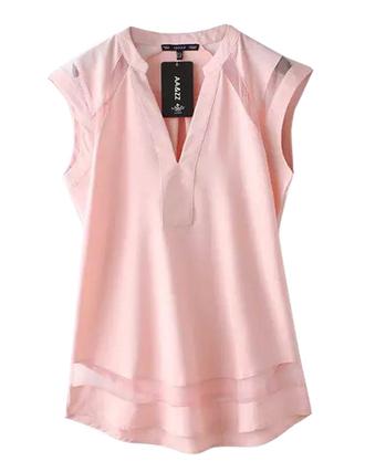 blouse brenda-shop shirt pink baby pink v neck summer mesh mesh top