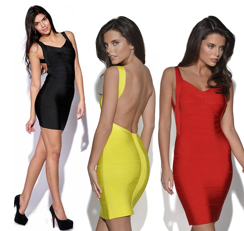 Sexy Bandage Dress Mini Bodycon Backless Yellow Red Black Plus Size Party Club wear Evening Casual New Fashion Women 2014 summer-in Dresses from Apparel & Accessories on Aliexpress.com
