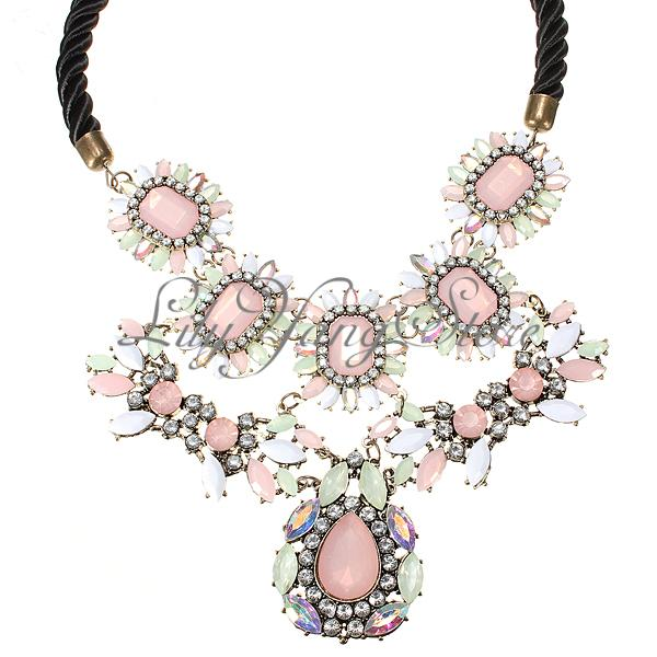 Rhinestone Bib Crystal Crew Pink Flower Statement Collar Necklace Earring Gift | eBay