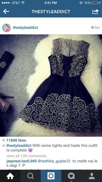 dress black mini dress with lace detail ill