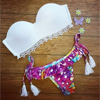 swimwear white swimwear tie dye tassel bandeau ruffled brazilian bikini bikini colorful lace detail sweater