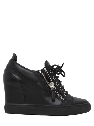 sneakers leather wedge sneakers black shoes