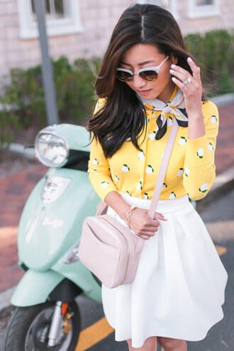 skirt sunglasses scarf tumblr mini skirt white skirt extra petite shirt cardigan bag yellow pink bag