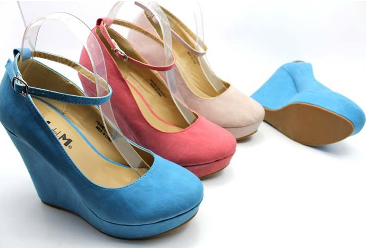 2013 hot ! eur size 35 41 women's wedge shoes for lady wedges & black,blue,pink,beige