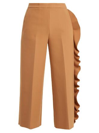 ruffle camel pants