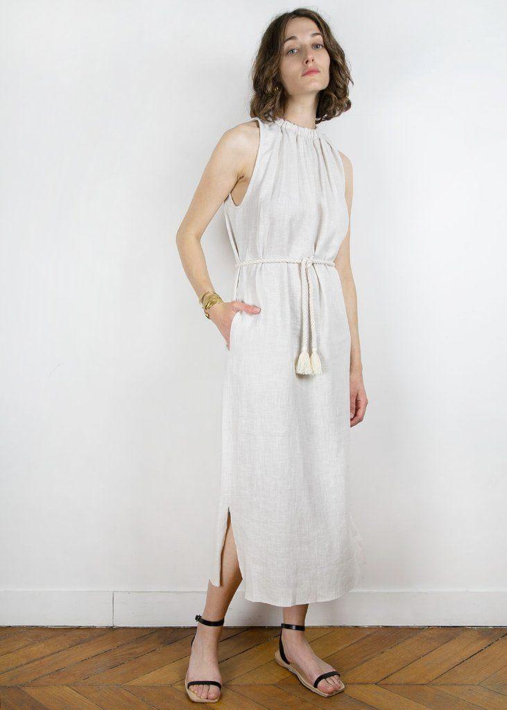 Textured Off White Linen Long Dress with Tassel Belt