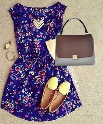dress short short dress flowers floral cute outfit purple yellow purple dress style pastel purple dress
