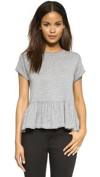 ruffle grey heather grey top