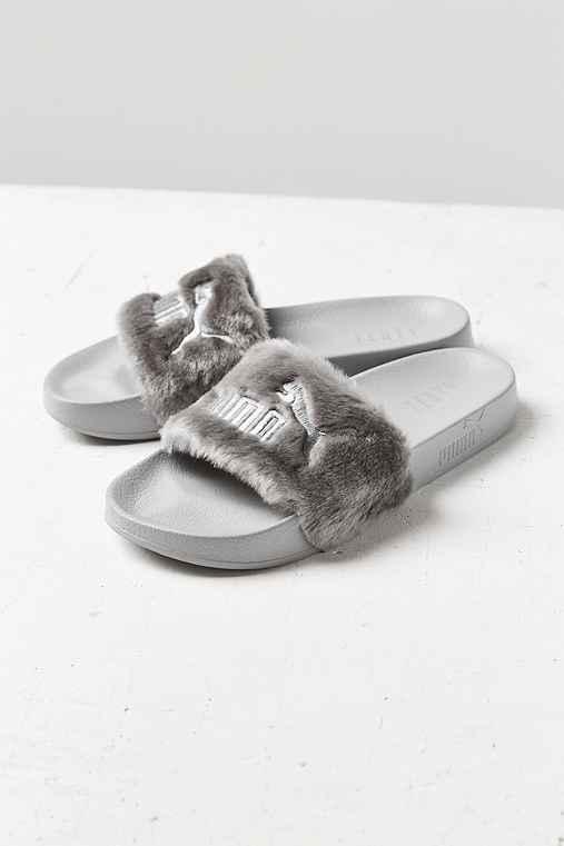 best sneakers a21e3 c0224 Puma X Rihanna Leadcat Fenty Faux Fur Slide - Urban Outfitters