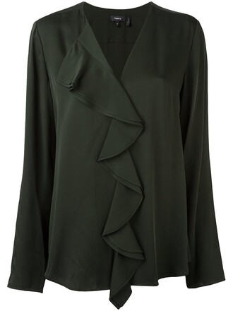 blouse ruffle women silk green top