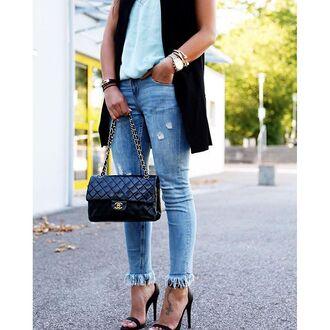 jeans tumblr frayed denim frayed jeans denim blue ripped jeans bag black bag chanel chanel bag watch sandals sandal heels high heel sandals
