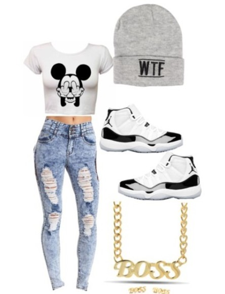 jewels white blouse shoes gray beanie black mickey mouse middle finger jordans gold necklaces gold boss cardigan jeans