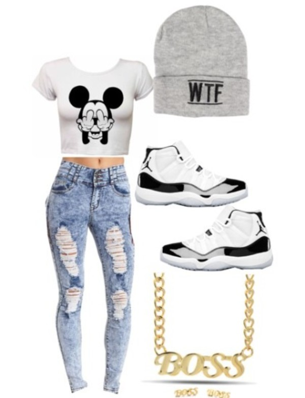 grey beanie white black mickey mouse jordans gold necklace gold boss blouse jeans jewels shoes
