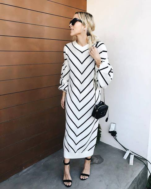 dress tumblr sweater dress maxi dress stripes striped dress long sleeves long sleeve dress knit knitted dress knitwear sandals sandal heels high heel sandals bag black bag
