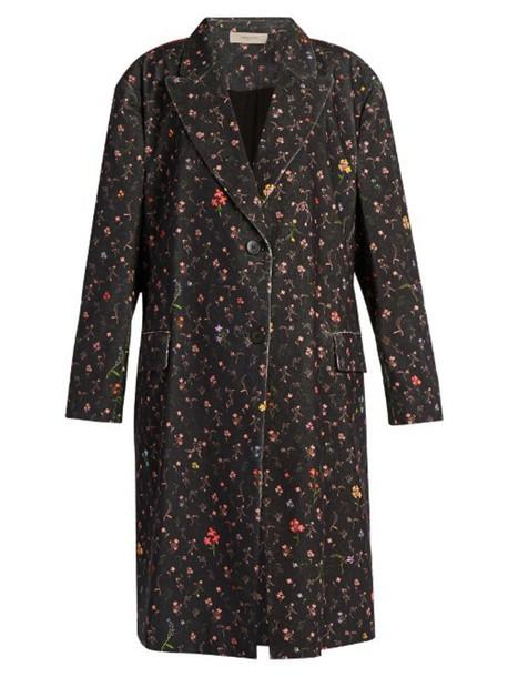 coat floral cotton print black