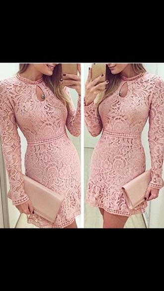 dress dusty pink lace long sleeved dressss